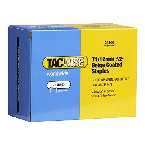 Tacwise 0488 Boîte de 20000 Agrafes galvanisées 12 mm Type 71 Beige