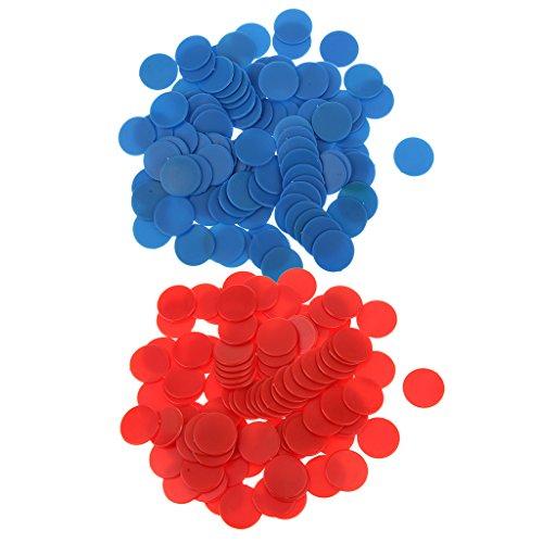 Gazechimp 200 Stk. Undurchsichtige Bingo Chips Marker für Bingo Spiel Karten - Rot Blau