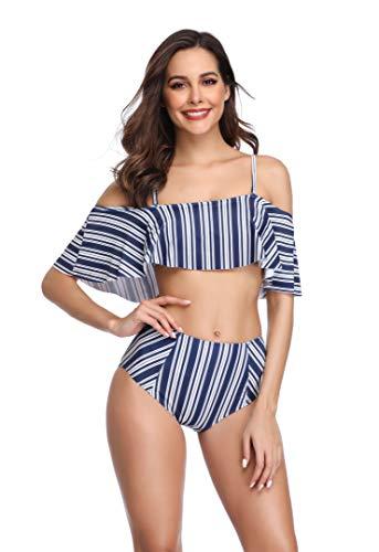 Summer Mae Damen Hohe Taille Off-Shoulder Badeanzug mit Volant Badekleid Blauer Streifen S