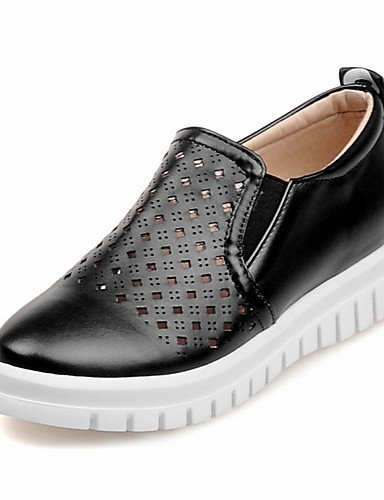 ZQ Scarpe Donna-Mocassini-Formale / Casual-Comoda / Punta arrotondata-Plateau-Finta pelle-Nero / Rosa / Bianco / Argento / Dorato , black-us8 / eu39 / uk6 / cn39 , black-us8 / eu39 / uk6 / cn39 black-us6.5-7 / eu37 / uk4.5-5 / cn37