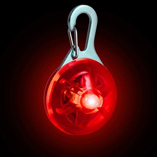 CampTeck Colgante Clip Luz LED de Noche 3 Modos de Funcionamiento, para Jogging, Paseo, Senderismo, Ciclismo, Indumentaria Reflectante, Mochila y Mucho más! - Rojo