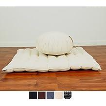 Set de Meditación Cojín Zafu, Colchoneta Zabuton , 76x72x25 cm, Capok, Blanco