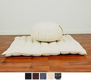 Set de Méditation Coussin Zafu, Tapis Zabuton, 76x72x25 cm, Kapok, Blanc