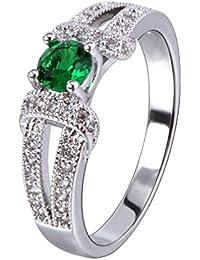 YAZILIND elegante joyeria mujer plateado verde zirconia cubicos promesa eternidad anillo aniversario banda tamano 8