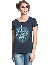 Assassins Creed - T-shirt girlie pour dames logo Vulpture Syndicate - Coton - Bleu