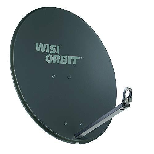WISI Orbit Line Satelliten Offset-Antenne OA38H in Basaltgrau – 80cm Reflektor mit 40mm LNB-Halterung, Feedarm und Mastschellen – Komplette Sat Antenne mit Montagezubehör