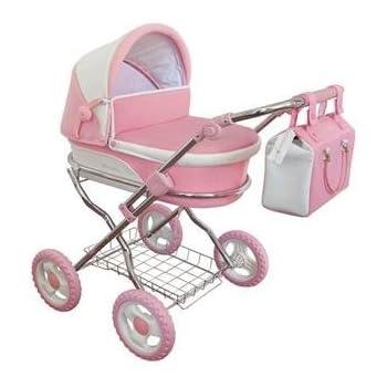 Dolls Pram Windsor Piccadilly Pink & White Includes Pram Bag