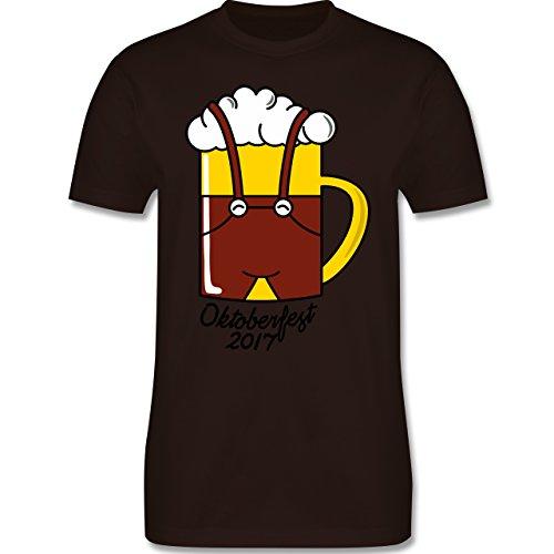 Oktoberfest Herren - Bierkrug mit Lederhose Oktoberfest 2017 - Herren Premium T-Shirt Braun
