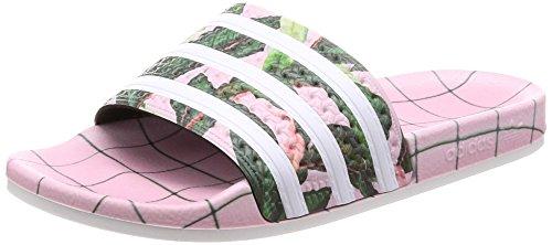 adidas Adilette W, Damen Dusch- & Badeschuhe,Mehrfarbig (Supplier Colour/FTWR White/Wonder Pink),37 EU