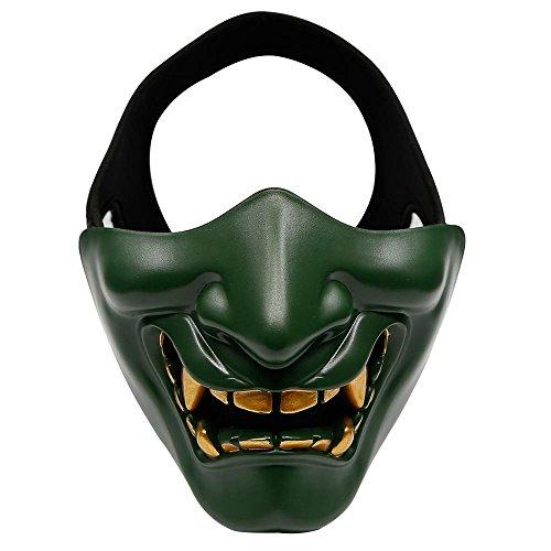 Leegoal Softair Hälfte Gesicht Maske mit Metall Mesh Eye Schutz für CS Überleben Spiele Masquerade Halloween Cosplay–Outdoor Ghost Maske Army Herren & Frauen Zombie Scary Skelett Masken für Kostüm, grün