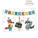 Grätz Verlag - Einladungskarten 8er Set zum Kindergeburtstag mit Umschlag, bunt, Junge oder Mädchen, mit Motiv Tiere machen Party, bunt