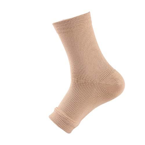QAZKER Calcetines elásticos de tobillo de protección de Pie de compresión (Color : Complexion, Tamaño : L/XL)