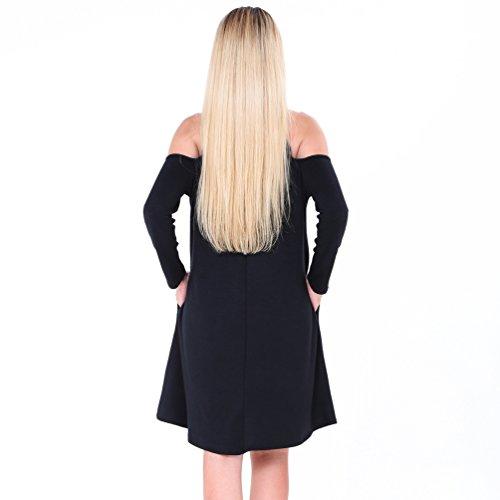 YuanDian Femme Automne Hiver Casual Épaissir Chaud Off Shoulder Mini Courte Robe Couleur Unie Baggy A Line Swing Tunique T Shirt Robe Avec Poche Noir
