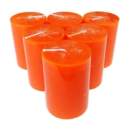 Collumino Stumpenkerze, einfarbig, 30Stunden Brenndauer, Größe 8x 5,5cm, Orange, 6 Stück