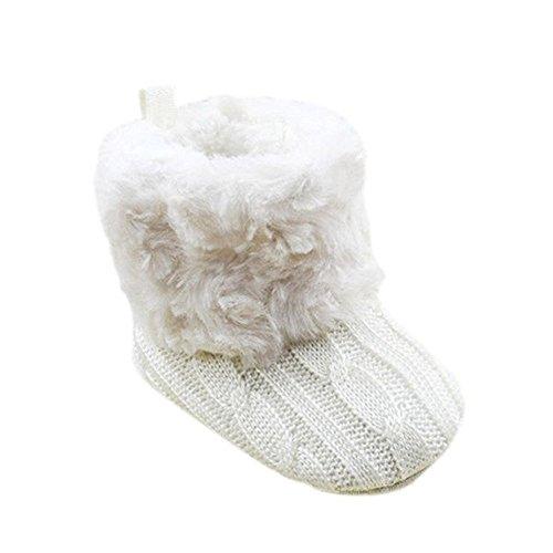 Unisex Baby Mädchen Jungen Fleece Booties Weich Scooties Winter Knit Schneeschuhe Krippe Schuhe 0-18 Monate Weiß