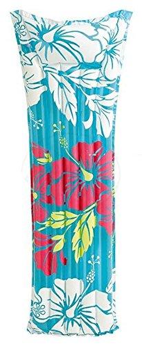 Matratze Liegematratze Luftmatratze ca. 183 x 69 cm ein toller Badespass / verschiedene Farben - Hawaii - orange Blumen - blau Blumen / Nur für Schwimmer! Kein Schutz gegen Ertrinken! / große Luftmatratze / bunte Luftmatratze / robuste Luftmatratze / hautfreundliche Luftmatratze / Matratzen (blau Blumen)