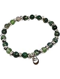Cloto summer vibes Green Thursday bracciale con pietre Agata verde 6mm e charm in argento 925 My Silver