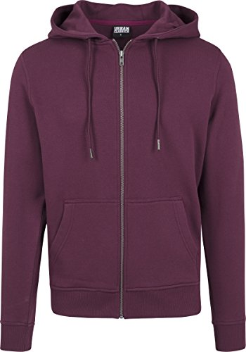 Urban Classics Herren Kapuzenjacke Basic Zip Hoodie - einfarbiges Sweatshirt mit Kapuze, Kapuzenpullover mit Reißverschluss - Farbe cherry, Größe L (Zip Sweatshirt Herren Kapuzen Basic)