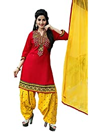 OSLC Red Cotton Patiala Salwar Suit Women's Cotton Patiala Salwar Bottoms Blue Designer Cotton Semi-stitched Salwar...