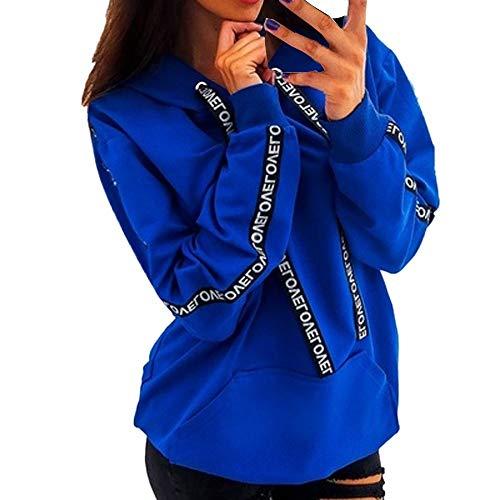 JURTEE Damen Hoodie Brief Gedruckt Einfarbig Große Größen Langarm Hooded Sweatshirt T-Shirt Mädchen Mode Herbst Lange Kapuzenpullover Tops Oberteile Bluse(XL,blau)