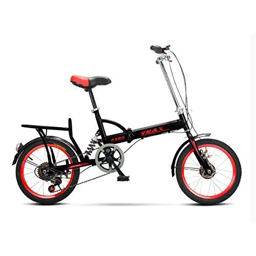 YEARLY Schüler klappräder, Klappräder Männer und Frauen Lightweight Kinder Schule 6-Gang Faltrad-schwarz 16inch
