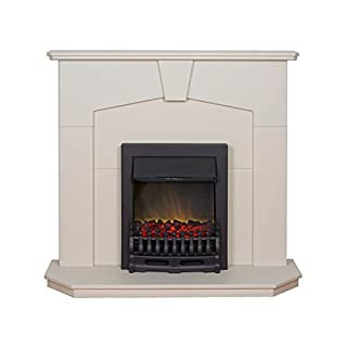 Adam Abbey Stone Effect Fireplace Suite with Black Blenheim Electric Fire, 2000 Watt