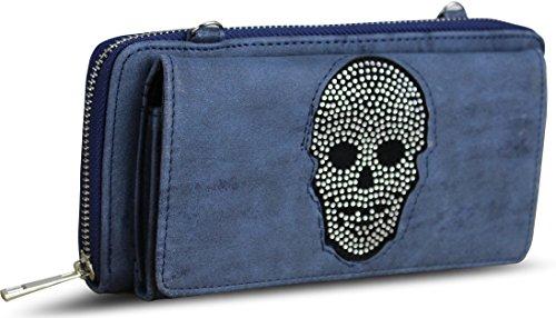 Damen Luxus Strass Totenkopf Geldbörse Umhägetasche Geldbeutel Brieftasche Portemonnaie Damenbörse Börse (Blau) Luxus Strass