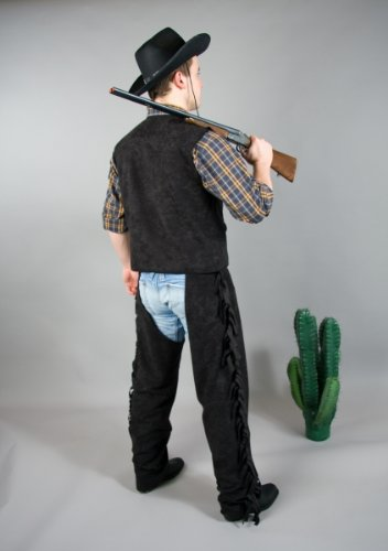 Kostüm Chaps Cowboy - Karneval Herren Kostüm Cowboy Überhose Chaps schwarz Größe 48/50