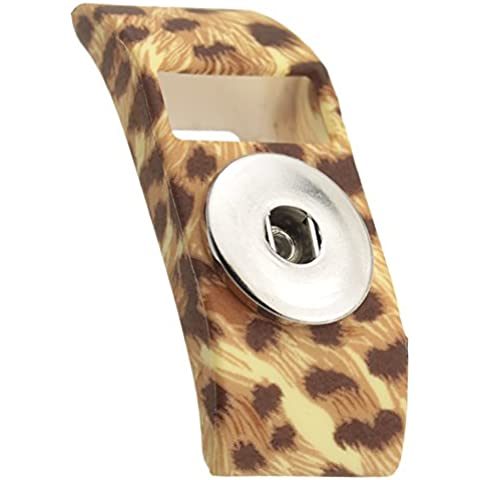 YINUO 2 En 1 Cubierta Funda De Banda Con Presiona Joyería Accesorio Ajusta Botones De 18-20mm Para Fitbit Charge/ Fitbit Charge HR (leopardo