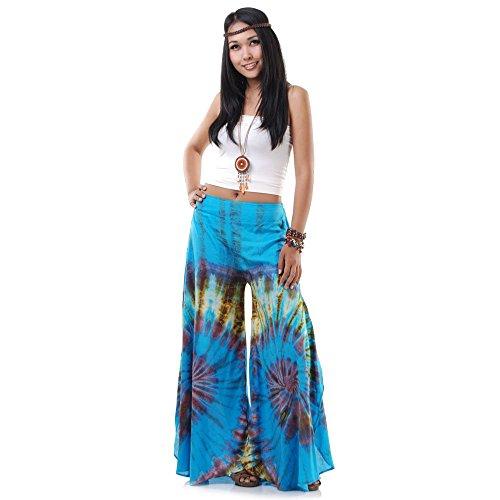 Extrem weite Hippie Batik 70er Jahre Party Hose Schlaghose 36 38 40 S M (Blau)