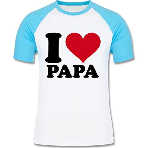 I love - I Love Papa - zweifarbiges Baseballshirt für Männer Weiß/Türkis