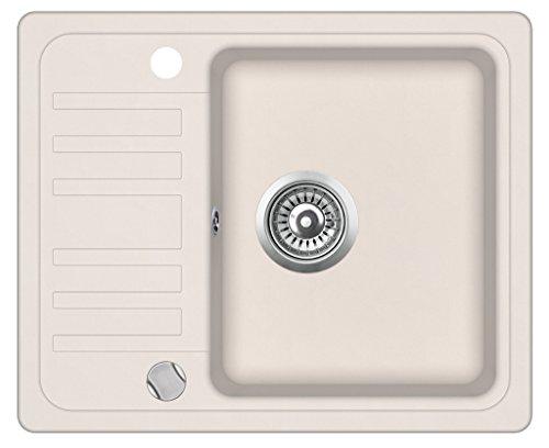 Granitspüle Küchenspüle in versch. Farben Einbauspüle Granit inkl. Drehexcenter, Ab- und Überlaufgarnitur reversibel ab 45/50er Spülenunterschrank (creme beige)