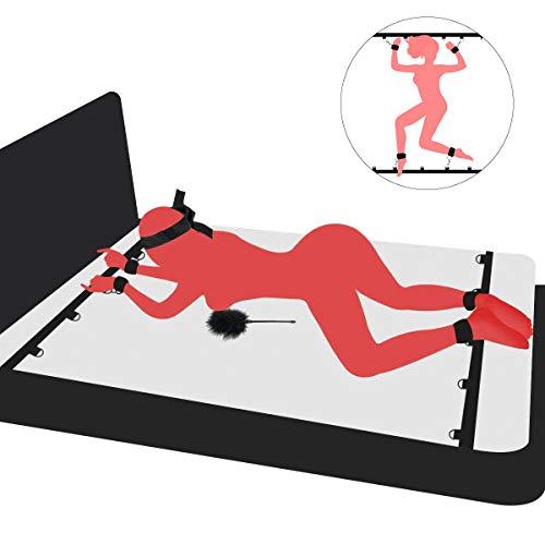 PALOQUETH BDSM Sex Bondage Sexspielzeug für Paare, Fessel-Set zur Befestigung am Bett mit Handschellen Fußfesseln spielsatin Augenmaske Augenbinde Federkitzler Liebes Feder SM