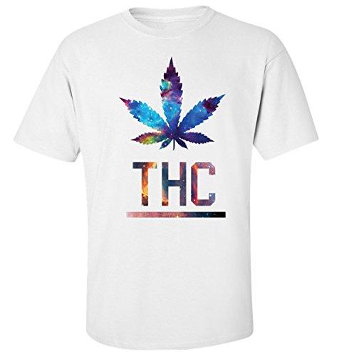 Thc cosmic galaxy weed cannabis t-shirt herren baumwoll weiss (L)