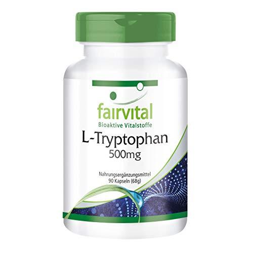 L-triptófano 500mg - VEGANO - Altamente dosificado - 90 cápsulas - aminoácido esencial - ¡Calidad Alemana garantizada!