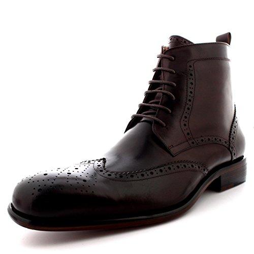 queensbury-smith-hommes-ral-cuir-richelieus-cap-daile-cheville-chaussure-bottes-marron-uk8-eu42-kk00