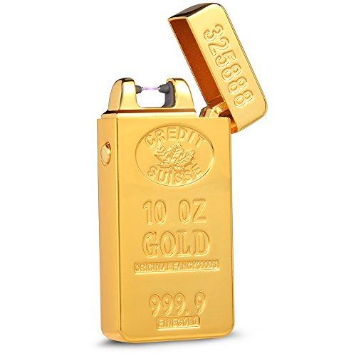 Kivors&reg Drache elektronisches Feuerzeug tragbar USB aufladbar dopple Lichtbogen tragbar (gold2)