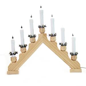 Traditional wooden candle bridge with 7 flickering candles for 7 candle christmas decoration