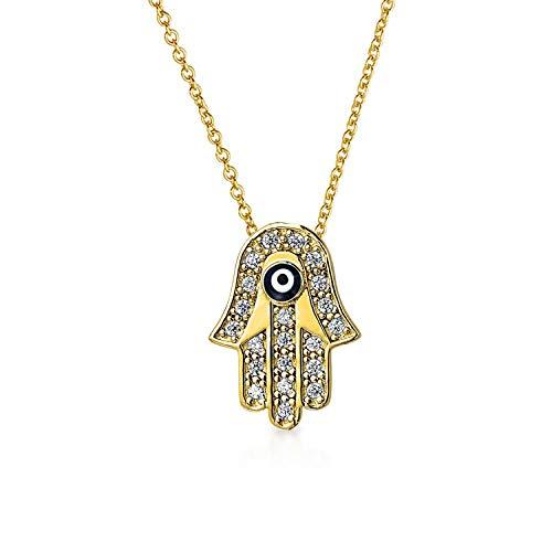 Türkische Hamsa Hand Der Fatima Von Gott Das Böse Auge Anhänger Mit Kette Für Damen 14K Vergoldet Sterling Silber (14k Gold Vergoldet Ohrringe)