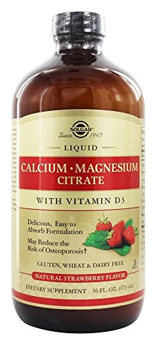 Solgar, Liquid Calcium • Magnesium Citrate with Vitamin D3, Natural Strawberry Flavour, 16 fl oz (473 ml)