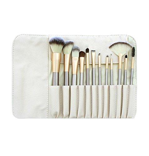 NiSeng Professionnel 12Pcs set pinceaux maquillage Kabuki/Fard à paupières/Sourcils/Blush/Pinceau à lèvres/Correcteur avec Sac Café