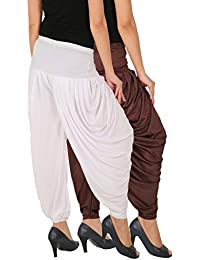 Side Pleats Style Dhoti Pants Of Women - Fashion And Freedom Women's Lycra Side Pleated Dhoti Patiala Salwar Harem...