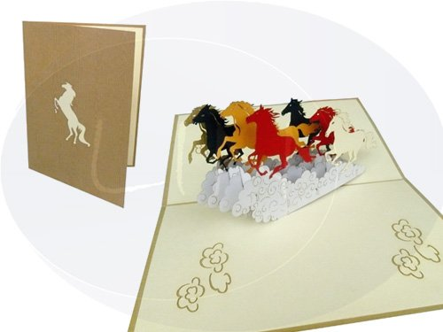 Carte de vœux Pop Up 3D Cartes à Collectionner PFERD Cartes Carte Animaux cheval (Grande Carte 15 x 20 cm) (# 143)