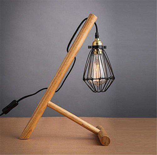 Zeitgenössisches Gewebe-abdeckung (H&M Schreibtischlampe Retro industrielle Weinlese-Schreibtisch-Lampen-feste hölzerne Tabellen-Lampe mit Eisen-Käfig-Abdeckungs-Schlafzimmer-Wohnzimmer-Nachttischlampe klassisches Schreibtisch-helles Tabellen-Licht)