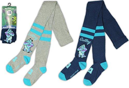 Disney Strumpfhosen Monster INC.SULLY 2-er Pack Junge boys tights Kinderstrumpfhose grau blau (Sully Monsters Inc)