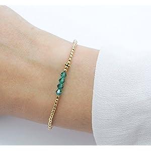 Armband Grün-Gold, 925 Silber vergoldet