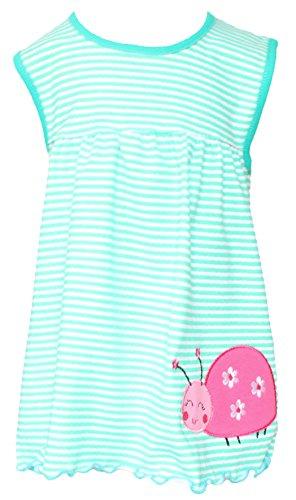 Sommer SALE! Sommerkleid | Shirt-Kleid Pincess Taufkleid Modell 15 grün gestreift mit Käfer