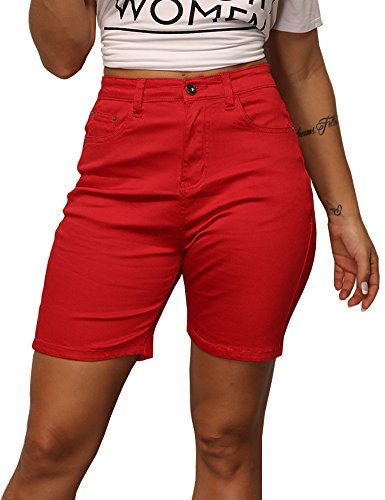 Uoohal Women's Midi Denim Shorts Summer High Waisted Juniors Casual Jeans Shorts
