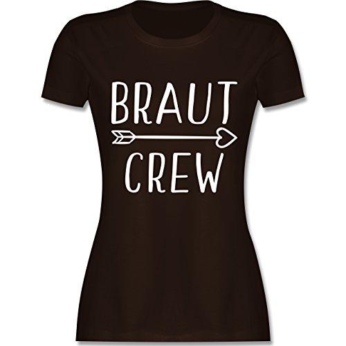 JGA Junggesellinnenabschied - Braut Crew Pfeile - Damen T-Shirt Rundhals Braun