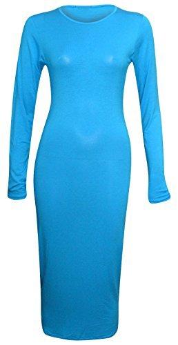 NEU Damen Sommer langärmlig Stretch Einfarbig Bodycon Midi Maxi Kleid 8-26 Türkis